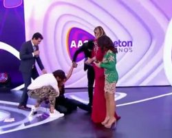 Grávida, Patrícia Abravanel cai no palco do Teleton
