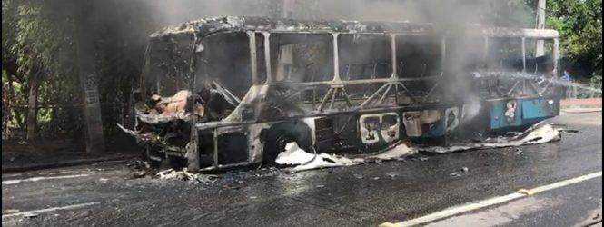 Ônibus da empresa 1002 pega fogo na Av. Caxangá